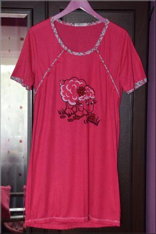 Koszula nocna rozpinana do karmienia, S , 36 , Różowa, owieczka