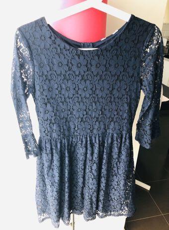 Sukienka dziewczęca H&M z granatowej koronki