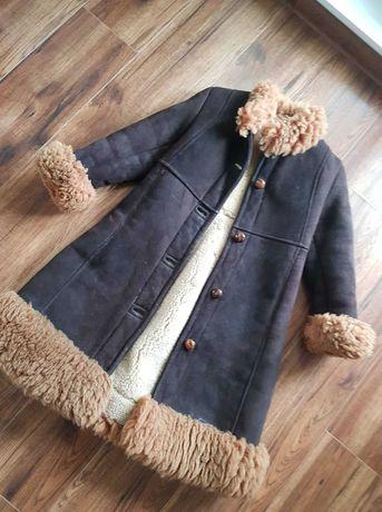 Kożuszek / prawdziwy kożuch dla dziewczynki z barana, bardzo ciepły !!