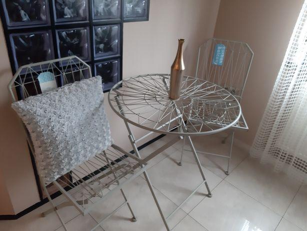 Komplet mebli ogrodowych balkon stół krzesła metal druciak metaloplast