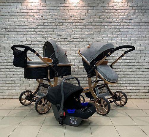НОВАЯ детская коляска 2в1, 3в1 с автокреслом Aimile на золотой раме