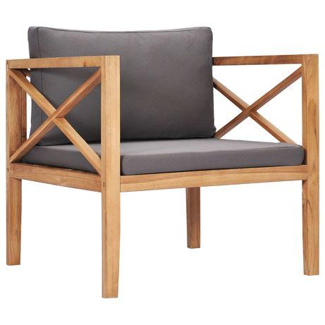 vidaXL Cadeira de jardim c/ almofadões cinzento-escuro teca maciça 316100