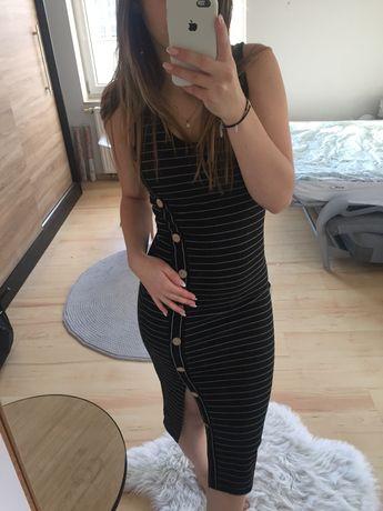 Sukienka czarna midi obcisla w paski primark z guzikami