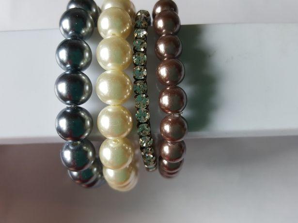 BRANSOLETKI cyrkonie i perełki, bransoletka, perły, cena za całość
