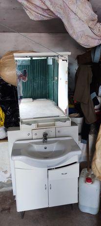 Mobília de casa de banho lavatório espelho e armário de arrumação