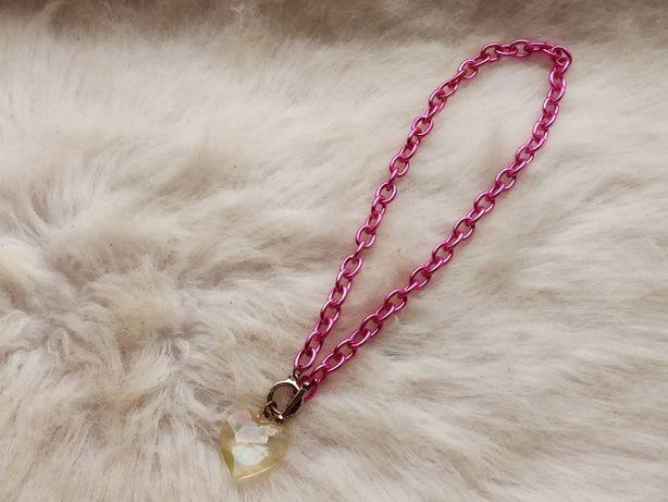 Розовое обьемное большое яркое ожерелье цепочка с кулоном сердцем проз