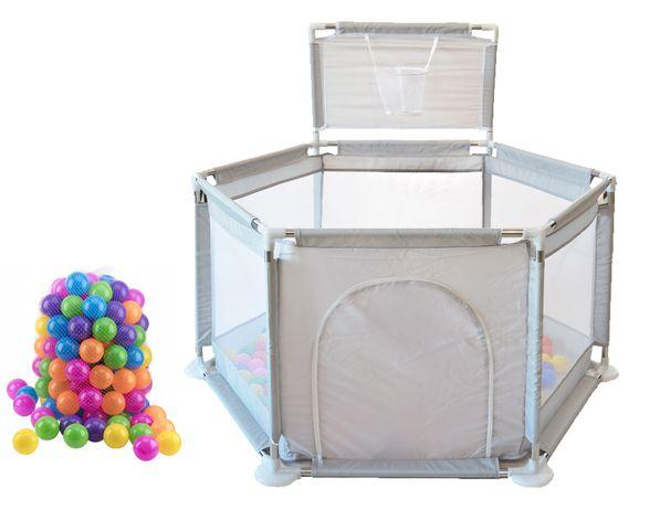 Kojec dla dzieci z piłeczkami suchy basen domek szary pastelowy