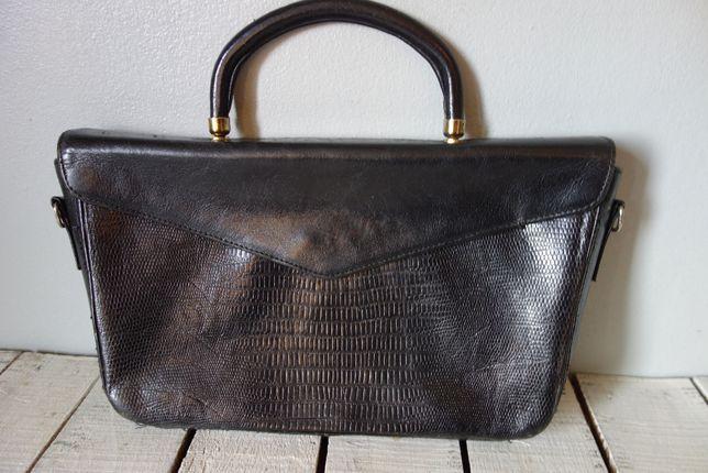 RETRO VINTAGE PICARD skóra mała czarna torebka torba kopertówka