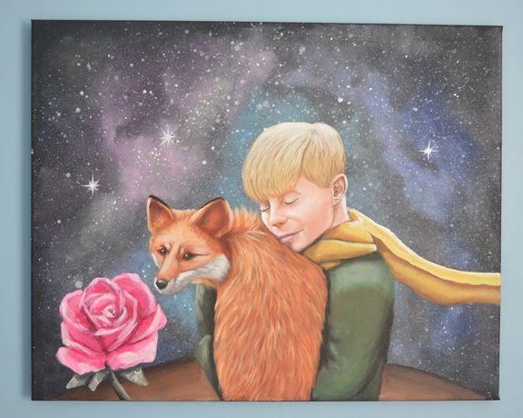 """Obraz bajkowy """"Mały książę """" ręcznie malowany"""