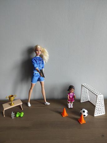 Zestaw lalka Barbie trenerka piłka 2 lalki