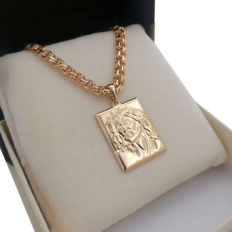Złoty łańcuszek GARIBALDI + medalik Jezus 18K pisemna gwarancja nowość