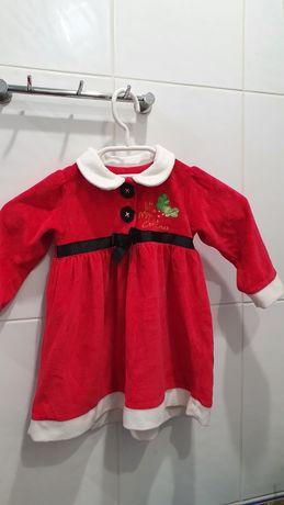 Платье Санты для девочки, размер 9-12 мес