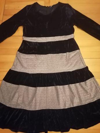 Sukienka granat-srebrna 5XL, rozm 50
