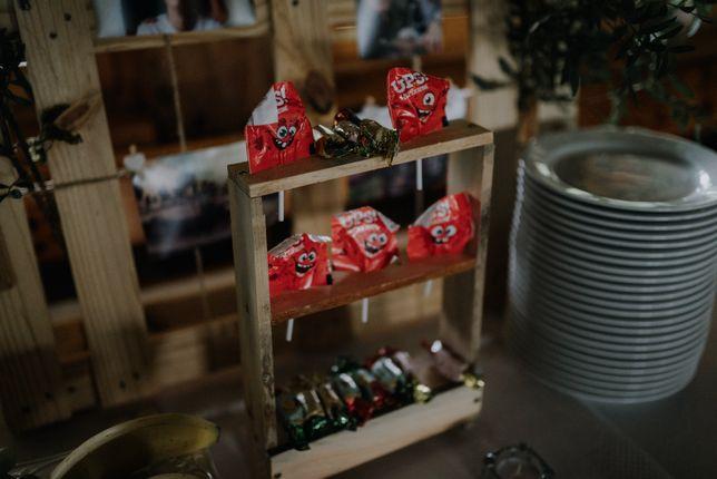 Stojak na lizaki ślub wesele rustykalne