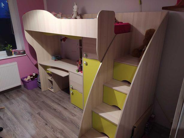 Zestaw mebli łóżko na antresoli biurko szafa szuflady dla dziecka4w1