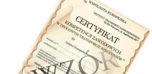 Certyfikat Kompetencji Zawodowych przewóz rzeczy użyczę