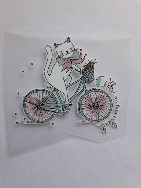 Термонаклейка термопатч котик на велосипеде