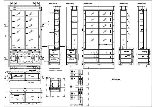 Rysunki mebli w programie AutoCAD + kosztorys/zestawienie materiałowe