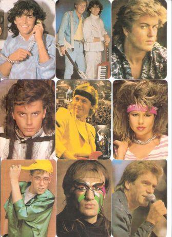 """Calendários 1986 """"Cantores Rock 4ª Serie"""" ARPA Coleção Completa"""