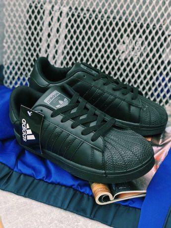 Кроссовки чисто черные Adidas Pure Black Адідас Суперстар!