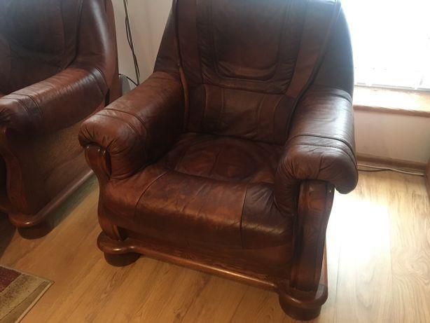 Komplet wypoczynkowy skórzany - sofa + dwa fotele