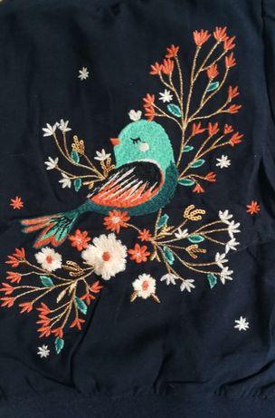 C&A Bluza, kurtka kwiaty, ptaszek, haft 92 NOWA