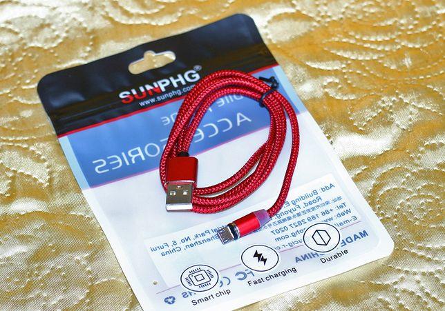 Новый скоростной USB магнитный кабель 360° micro USB, тканевая оплётка
