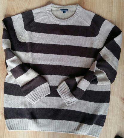Sweter męski M paski brązowe i beżowe