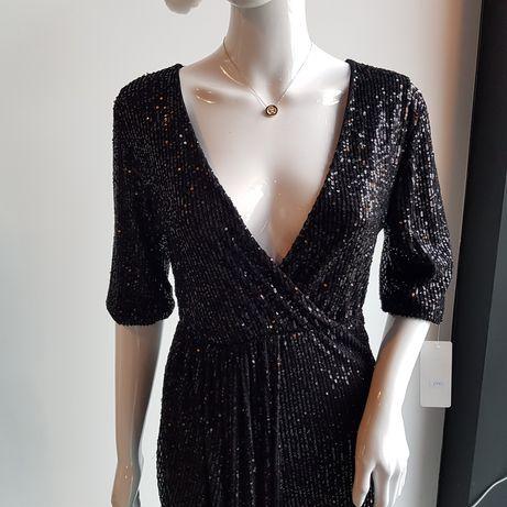 Czarna sukienka cekinowa roz. M/L