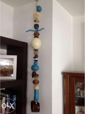 Ovo de Avestruz - Suspensão de Arte Africana, com pele de animais