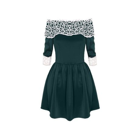 Rozkloszowana sukienka z gipiurą, roz. M/L