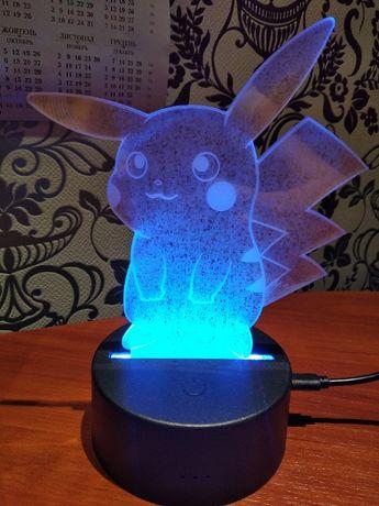 Ночник Покемон Пикачу, Ивви 7 цветов настольная лампа светильник