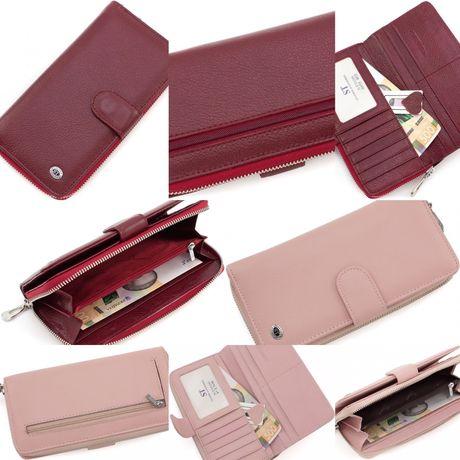 Бордовый женский кошелек из натуральной кожи с блоком под карты ST.
