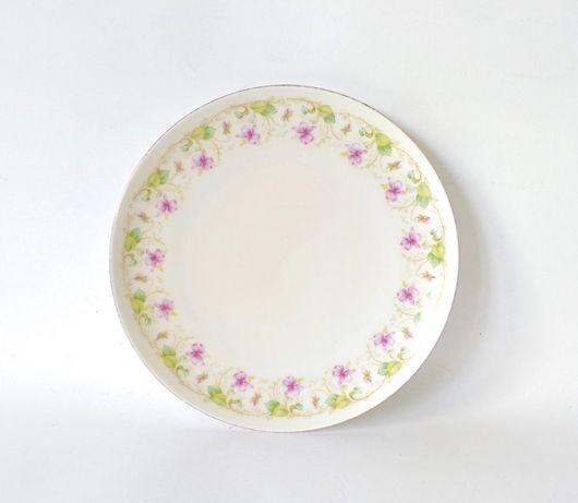 Talerz śniadaniowy porcelana secesja MZ Austria złocony stary antyk