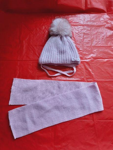 Шапка с шарфиком для девочки