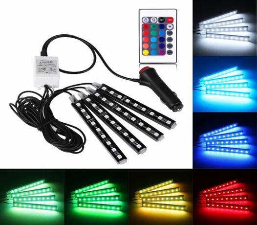 Oświetlenie Wnętrza AUTA Samochodu 4x9 36 LED RGBW + Pilot
