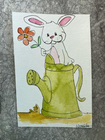 Kartka okolicznościowa wielkanocna wielkanoc królik konewka handmade