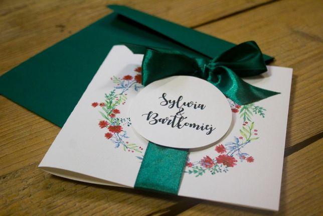 Zaproszenia ślubne Wianek Kwiatów z zieloną wstążką
