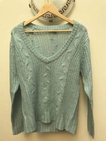 Camisola de lã turquesa