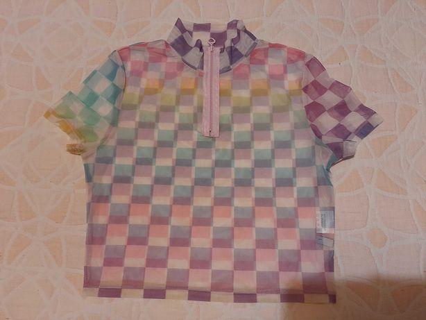 Top mesh transparente xadrez colorido