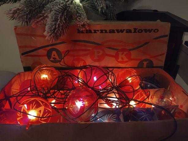 Komplet choinkowy/ karnawałowy, lampki choinkowe z PRL-u z 1966 roku,