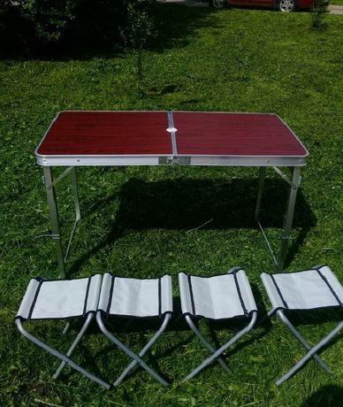 Стіл коричневий з стільцями ( розкладний алюмінєвий) 0,6х1,2м