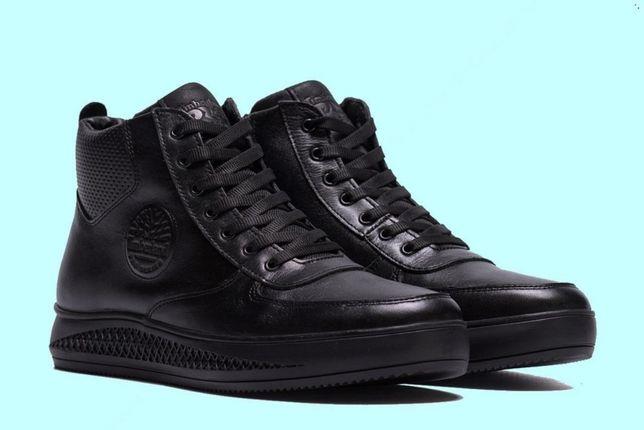 Мужские зимние кожаные ботинки TIMBERLEND black 117-1(т) Стильные