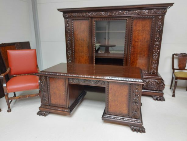 Stylowa  biblioteka  biurko  na lwich łapach gabinet