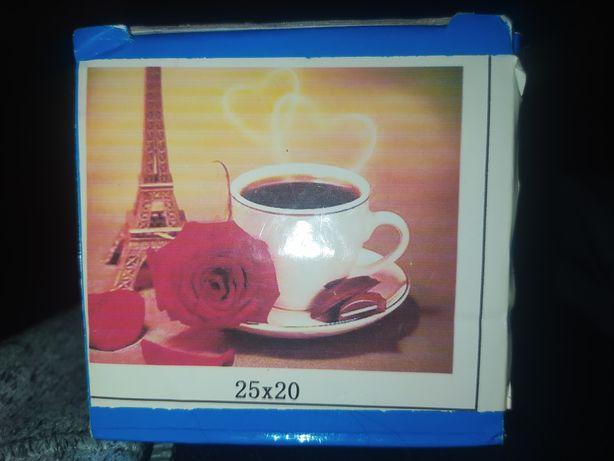 """Алмазная вышивка """"Кофе в Париже"""" Мозаика 25х20"""