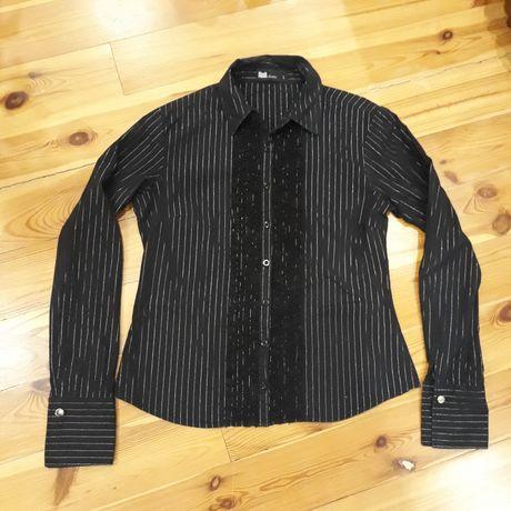 Koszula czarna srebrne paski żabot L