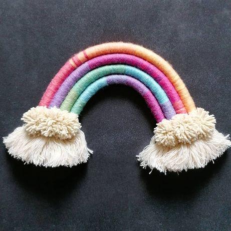 Tęcza makramowa, dekoracja do pokoju dziecka, rainbow makrama handmade