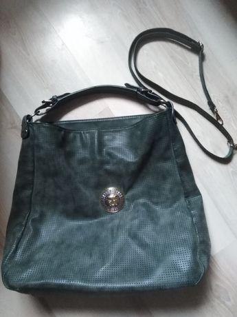 Zielona torba damska torebka logo