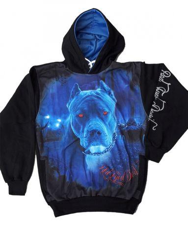 Bluza pies niebieski ostry jak Pitbull pit bull S,M,L,XL,XXL