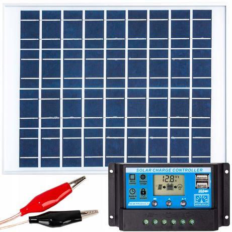 Panele fotowoltaiczne bateria słoneczna 20W 12V regulator (ZES204)